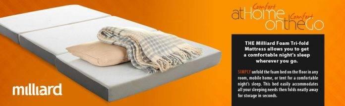 Milliard Tri Folding Memory Foam Mattress with Washable Cover Full