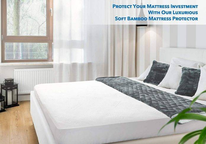PlushDeluxe Premium Bamboo Mattress Protector - Best Rated water resistant Mattress Protector