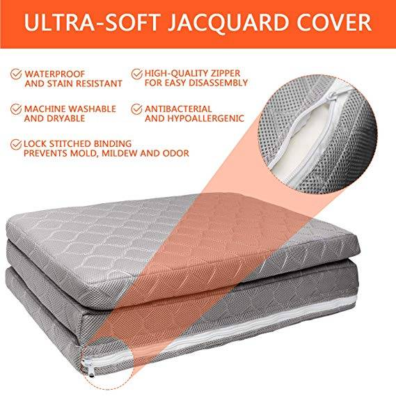 SURPCOS Trifold Pack n Play Mattress Pad with Firm and Soft Sides