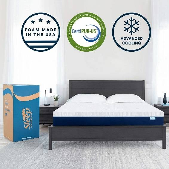 Sleep Innovations Marley Cooling Gel Memory Foam Mattress Bed in a Box, Made in the USA