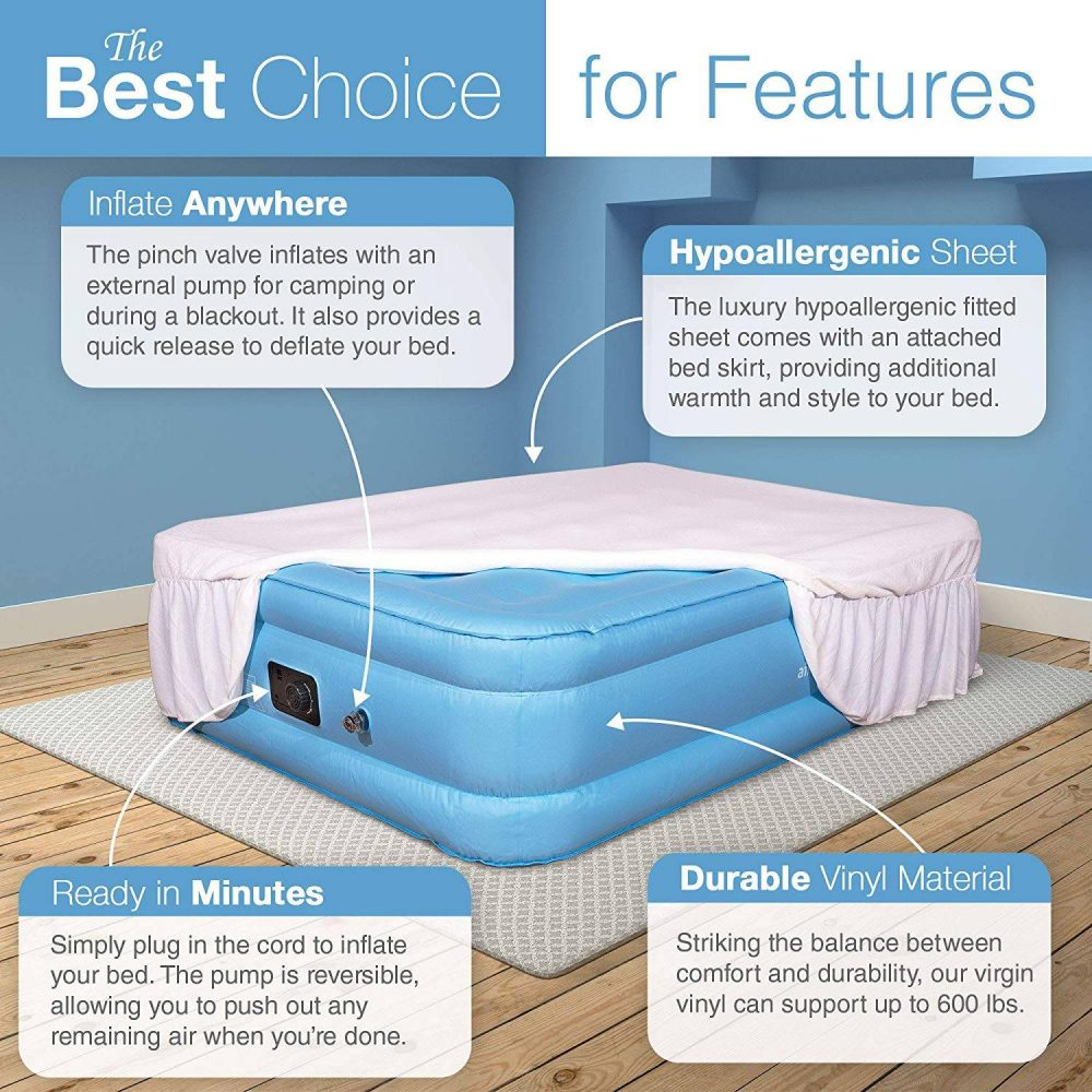 Air Mattress Full Size - Best Choice Raised Inflatable Bed with Fitted Sheet