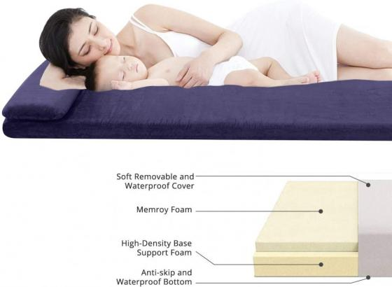 AONESY Sleep Memory Foam Floor Mattress with Pillow Single Double Size