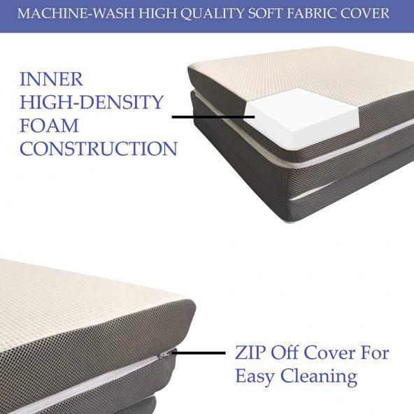 Mayton Folding Mattress for sleepover guest Memory Foam Portable Tri-fold