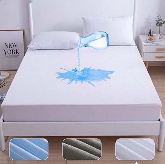 Agedate Cotton Fitted Sheet Waterproof Mattress Protector