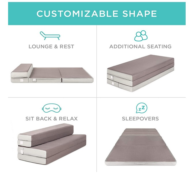 Best Choice Products 4in Thick Folding Portable Queen Mattress