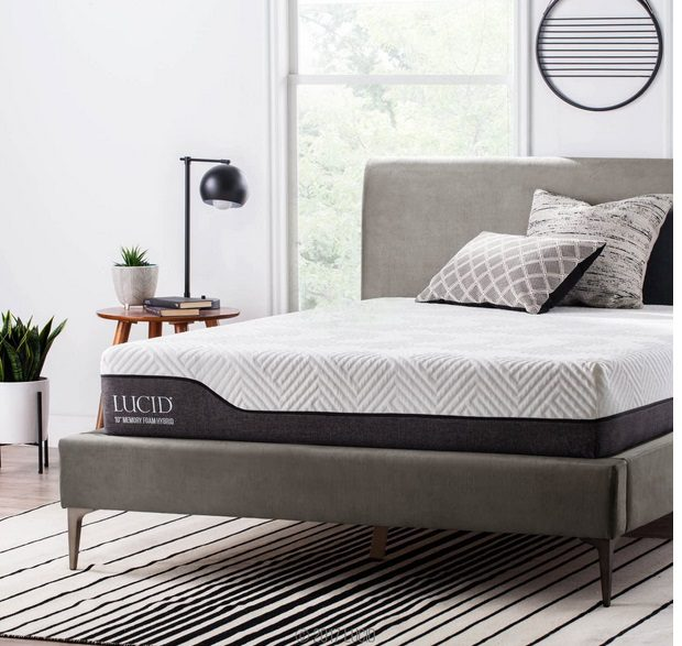 LUCID 10 Inch Queen Hybrid Mattress - Bamboo Charcoal and Aloe Vera
