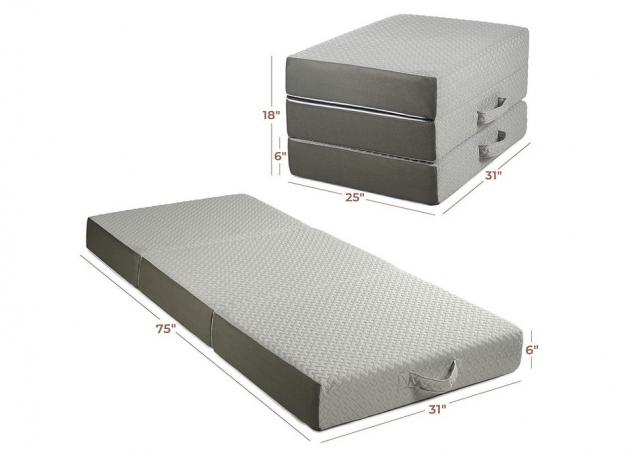 Milliard 6-Inch Memory Foam Tri Folding Mattress